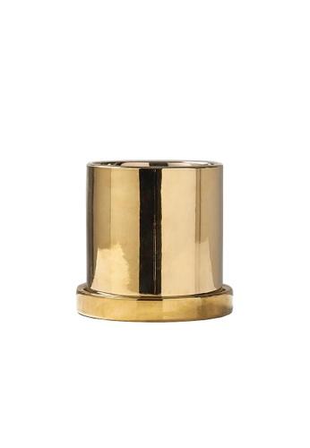 DILAS HOME Metallic Plant Pot (With Tray) - Big B92DAHLD9D318BGS_1
