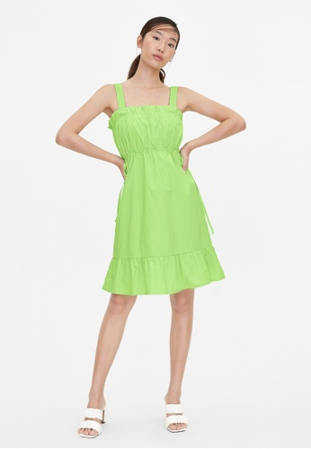 Pomelo green Ruched Flare Dress - Green B2422AAF9C3F04GS_1