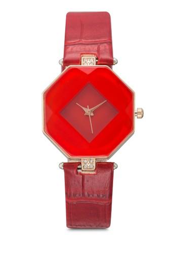 棱柱體仿皮鱷魚紋手錶, 錶類,zalora是哪裡的牌子 時尚型