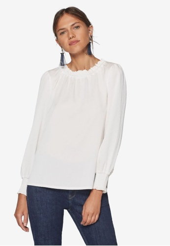 ESPRIT white Woven Long Sleeve Blouse 58BC6AA07EDF01GS_1