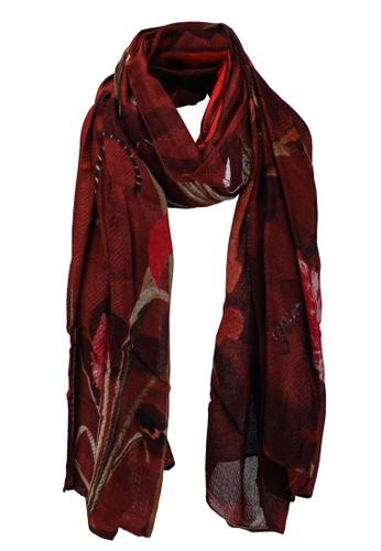 Desigual red Rectangular Floral Print Foulard Scarf 38734ACEC02441GS_1