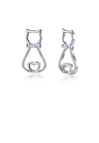 Glamorousky purple 925 Sterling Silver Simple and Cute Cat Stud Earrings with Purple Austrian Element Crystal 27A2BAC27CE11AGS_1