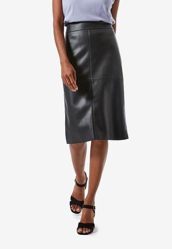 Dorothy Perkins black Petite Black PU Midi Skirt FF5B8AAC816E18GS_1