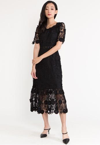 BEBEBUTTERFLY black BebeButterfly Round Neckline Lace Maxi Evening Long Dinner Dress 4A568AAE60D29EGS_1