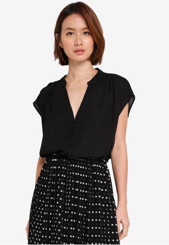 OVS black Short Sleeve Blouse BB694AA53A312AGS_1