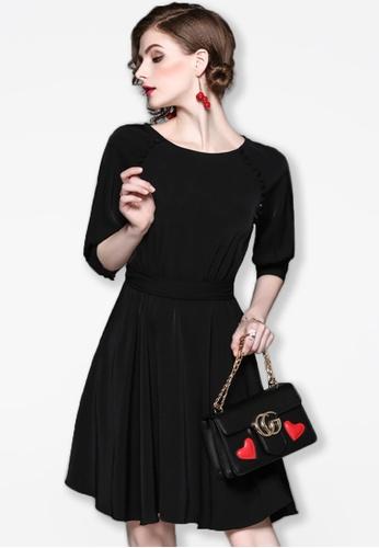 Sunnydaysweety black F/W Black Mid Sleeves Flare Mini Dress A083129BK SU443AA2UYMGHK_1