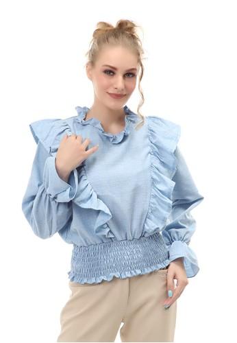 Hamlin blue Blouse Wanita Kasual Lengan Karet Fashionable Material Cotton ORIGINAL 36318AA519B35AGS_1