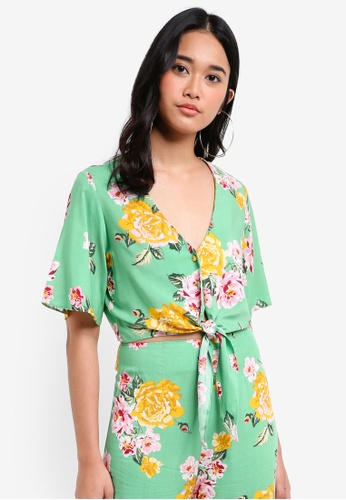 Miss Selfridge green Petite Floral Print Angel Sleeve Top DE308AACAEBD7BGS_1