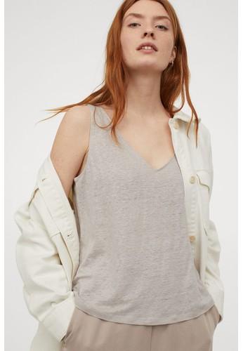 H&M beige Linen vest top A8BF7AA685C871GS_1