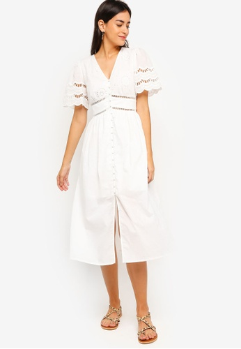 ZALORA white Button Down Eyelet Cotton Midi Dress 25D73AAC42F54BGS_1