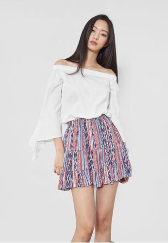迷你褶飾印花短esprit 鞋裙, 服飾, 裙子