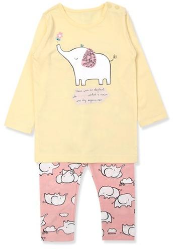 Organic mom pink and yellow Organic Cotton Ellie  Lightweight Long Sleeves Pjs C35B9KA9D85FC0GS_1