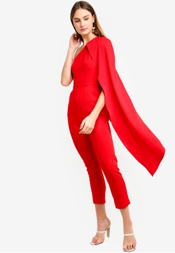 18b71f5bd80 Lavish Alice red One Shoulder Cape Tailored Jumpsuit 021F3AA8FC8539GS 1