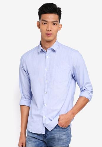 ESPRIT 藍色 休閒長袖襯衫 2B086AAB720D96GS_1