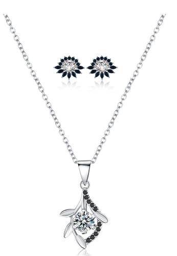 A-Excellence black Premium Elegant Black Sliver Necklace Earring Set 5871CACFD677D3GS_1