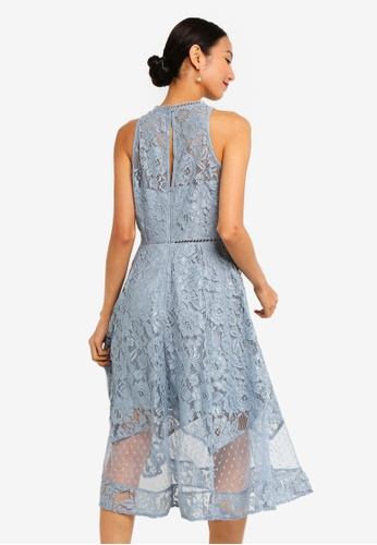 d7d06529fd5 Buy Little Mistress Alexina Blue Lace Midi Dress Online