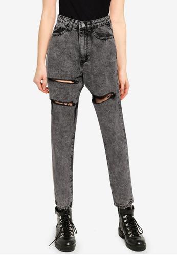 MISSGUIDED 黑色 開叉牛仔褲 DD366AAB16F823GS_1