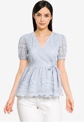 FabAlley blue Wrap Peplum Lace Top 7A969AA26D9257GS_1