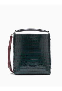 2b7da58a0d Calvin Klein green Crocodile Embossed Bucket Bag 36ACEAC6D2CDCCGS_1