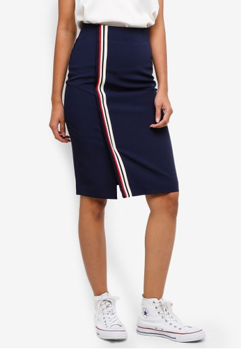 Hopeshow navy Pencil Skirt With Stripe Design 041C7AA1B3D3B3GS_1