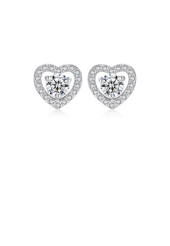 Glamorousky white 925 Sterling Silver Fashion Romantic Heart-shaped Cubic Zirconia Stud Earrings EB294AC0F3563AGS_1