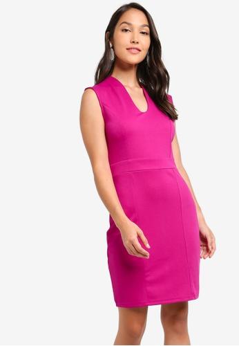 ZALORA 粉紅色 合身短洋裝 BC676AA902A56BGS_1