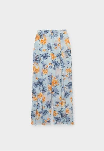 Pomelo blue Bold Floral Fold Over Pants - Blue 51556AA4E7AB36GS_1