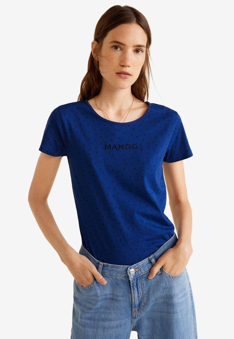 Logo Mango Embroidered Blue T Shirt Bright pnaFxwY