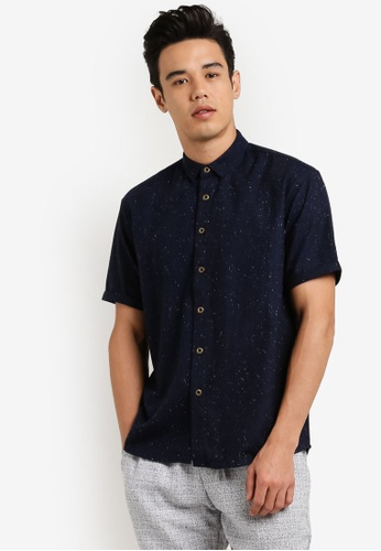 ZALORA navy Wool Blend Boxy Short Sleeved Shirt 5E6E1AA61B9863GS_1