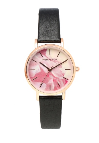 Milliot & Co. 黑色 Rosie 玫瑰金 皮革 Strap 手錶 0C187AC7C913E4GS_1