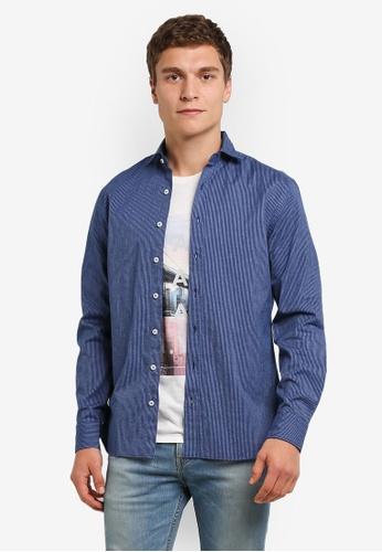 MANGO Man blue Slim-Fit Striped Cotton Shirt MA449AA0RORNMY_1