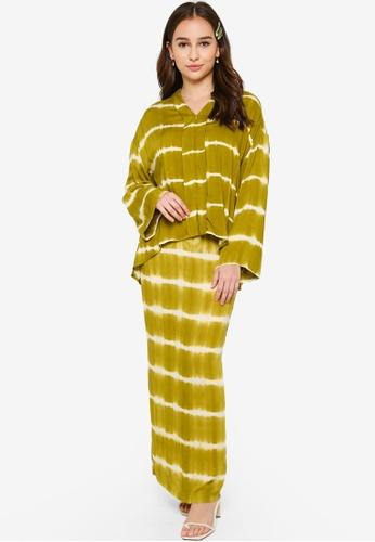 Lubna 白色 and 綠色 Kimono Sleeve Kebaya 4B735AA1DDBDE4GS_1