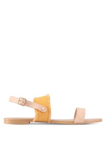 ZALORA yellow Canvas Detail Sandals 8FBECSH5674473GS_1