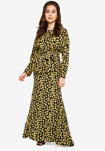 Lubna black and yellow Belted Drop Shoulder Kurung 4684BAA814E17BGS_1