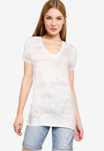 GAP grey Short Sleeve Favorite V-Neck Top 16AF9AA06EECA5GS_1