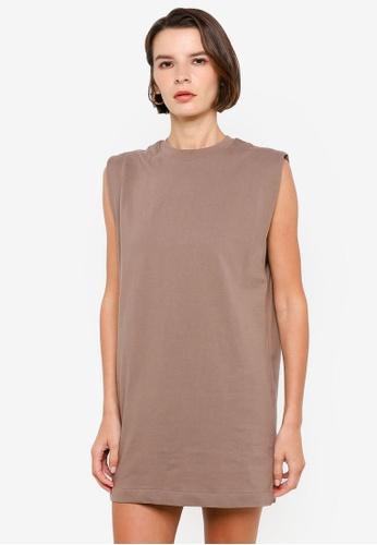 H&M grey and beige Sleeveless Jersey Dress FEFCAAA75C1AC5GS_1