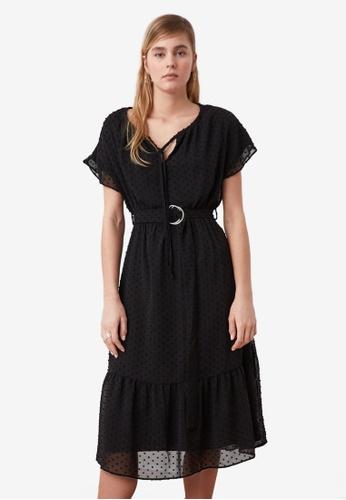 Trendyol black Belted Ruffle Midi Dress 7DCFBAAC55A7FCGS_1