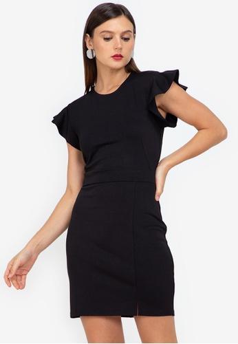 ZALORA WORK black Flare Sleeves Sheath Dress 589F1AA2F682E2GS_1