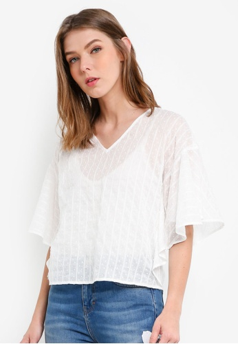 ESPRIT white Woven Short Sleeve Blouse 79EF5AA10AD00CGS_1