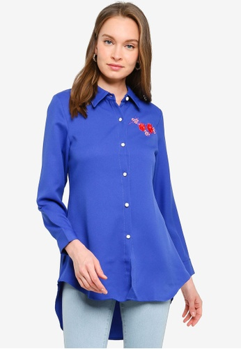 BYN blue Basic Shirt With Embroidery 93A97AA8651AB3GS_1