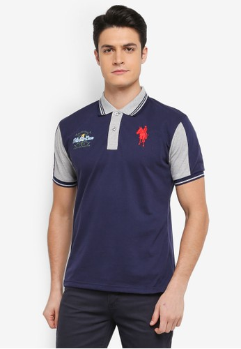 Fidelio navy Contrasted Sleeves and Collar Polo Tee BD12FAA425B63EGS_1