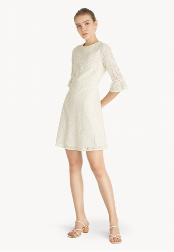Pomelo beige Mini Lace Crew Neck Dress - Cream D8586AAB210EA0GS_1