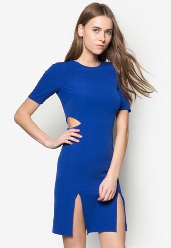 側腰zalora 折扣碼鏤空及膝洋裝, 服飾, 洋裝