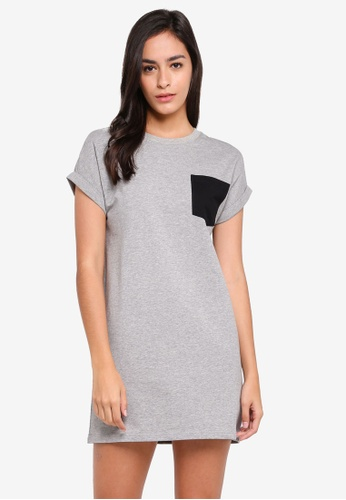 Something Borrowed grey Pocket Detail Tee Dress 4084BAA7A6F63BGS_1
