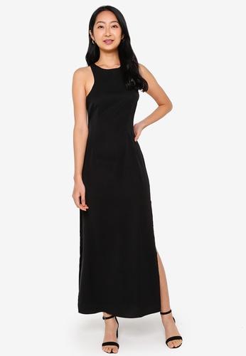 ZALORA BASICS black Cut In Maxi Dress 1B375AA81A2EE9GS_1