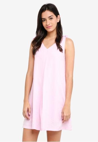ZALORA pink Tie Detail A-Line Strap Dress E381DAA59D7B32GS_1