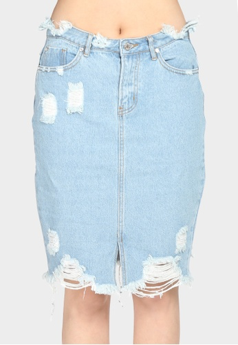 bd9a5f7c98ec London Rag blue Women s Mid wash Denim Skirt with Distress  DBD58AA0A3070BGS 1