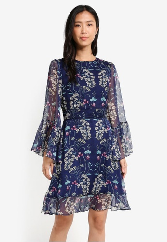 ZALORA navy Gathered Oversized Sleeve Dress 2CDEEAAD60D5DAGS_1