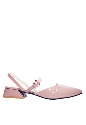 Twenty Eight Shoes 粉紅色 漆面金屬飾品矮跟鞋 VLR8 AFFDESH1233510GS_1