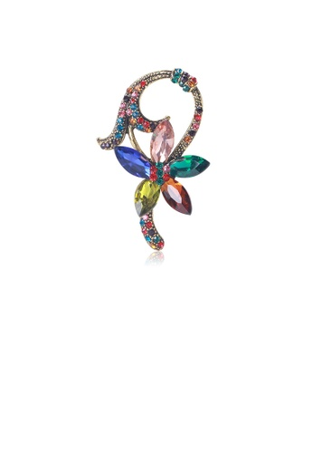 Glamorousky silver Fashion and Elegant Plated Gold Flower Brooch with Colorful Cubic Zirconia 89722ACBB0F3ACGS_1